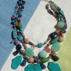 Multi color 3 strands turquoise Necklace